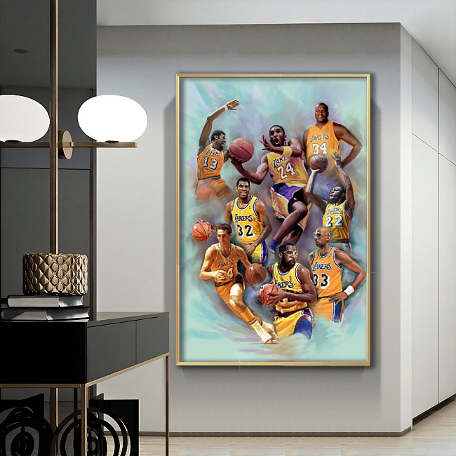 LA Lakers Famous Players Painting Style Canvas Wall Art