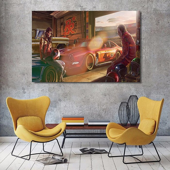 Ferraris Classic Racing Car Canvas Wall Art
