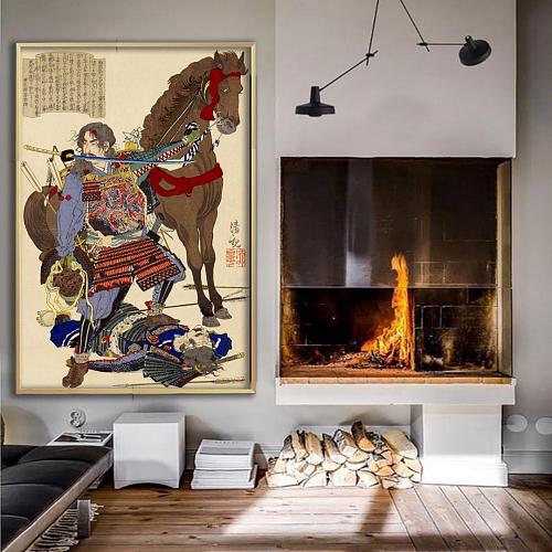 Ninja & Horse Canvas Wall Art