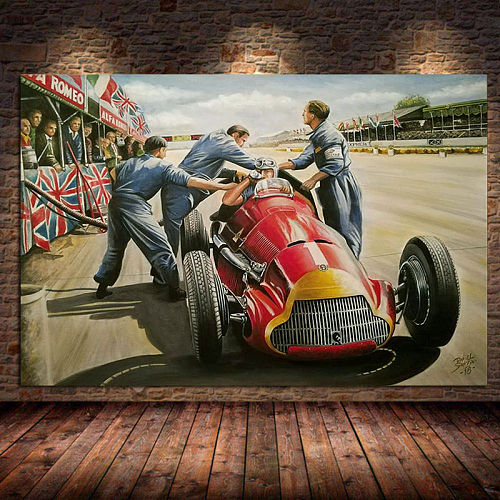 Classic Racing F1 Race Car Canvas Wall Art