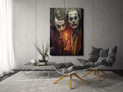 Joker Joaquin Phoenix and Heath Ledger Canvas Wall Art