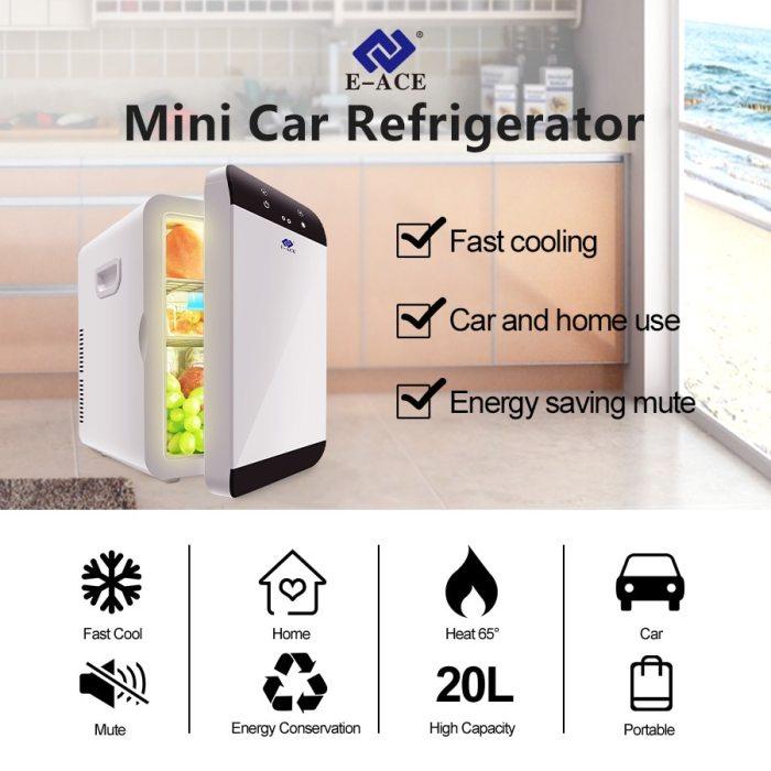 E-ACE M08 Car Refrigerator Low Noise Mini Auto Fridge Freezer Cooling Box Food Fruit Storage Fridge for House Outdoor