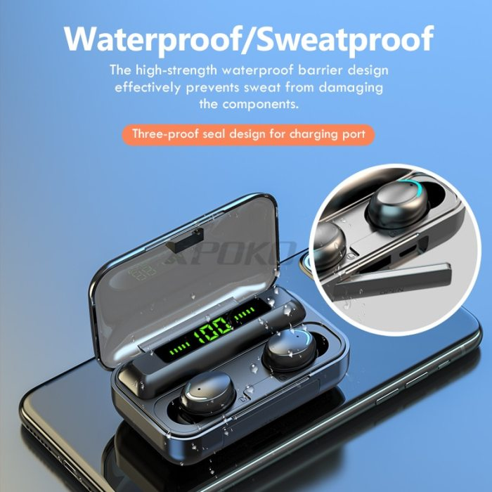 Bluetooth Wireless Headphones with Mic Sports Waterproof TWS Bluetooth Earphones Touch Control Wireless Headsets Earbuds Phone