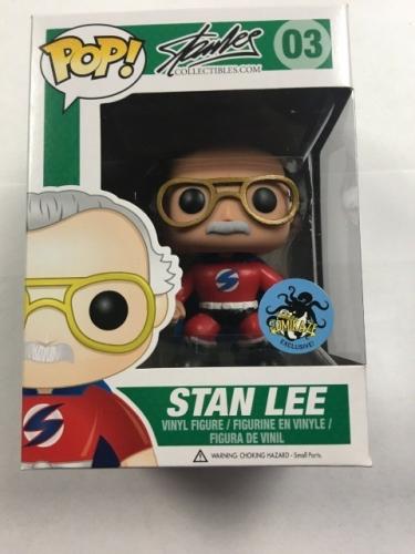 Funko Pop Stan Lee #03 Superhero Nycc Comikaze Exclusive Red Vinyl Figure