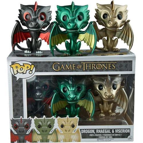 Funko Pop Game Of Thrones 3-pack Drogon, Rhaegal & Viserion Metallic Dragon
