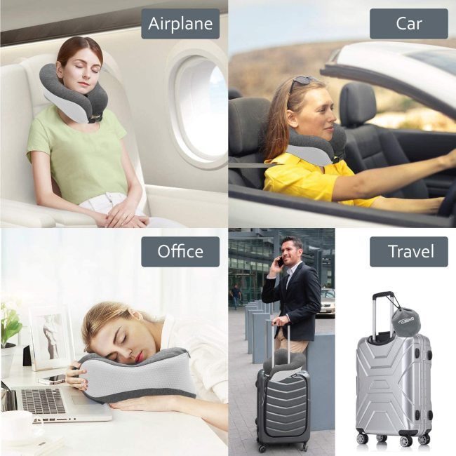 Tsmine Travel Neck Pillow Memory Foam - Neck Support Pillow Ergonomic Design Car Pillow with Soft Cotton Washable Cover, 3D Eye Mask and Earplugs for Car, Airplanes, Home, Office, Bus and Train