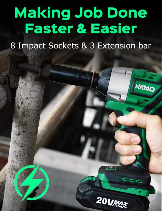 KIMO 20V 1/2 Impact Wrench,Cordless Brushless Impact Wrench Set 250 Ft-lb High Torque 3000 RPM, Li-ion Battery Fast Charger 8 Sockets 3 Extension Bars, Compact Electric Battery Wrench for Car Home