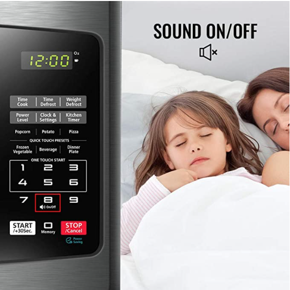 Microwave Oven with Sound On/Off ECO Mode and LED Lighting