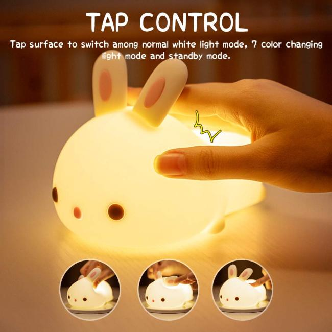 Cute Bunny Kids Night Light, Funny Valentines Gifts Women Teenage Girls Boy Birthday Kawaii Lamp Toddler - Portable Squishy Battery Operated Nursery Animal Led Nightlight Children Decor Decorations