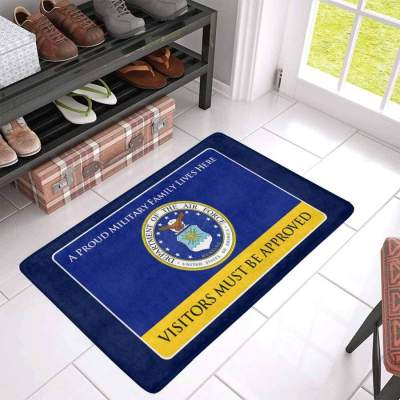 Proud Military Family Air Force Doormat - Visitors must be approved