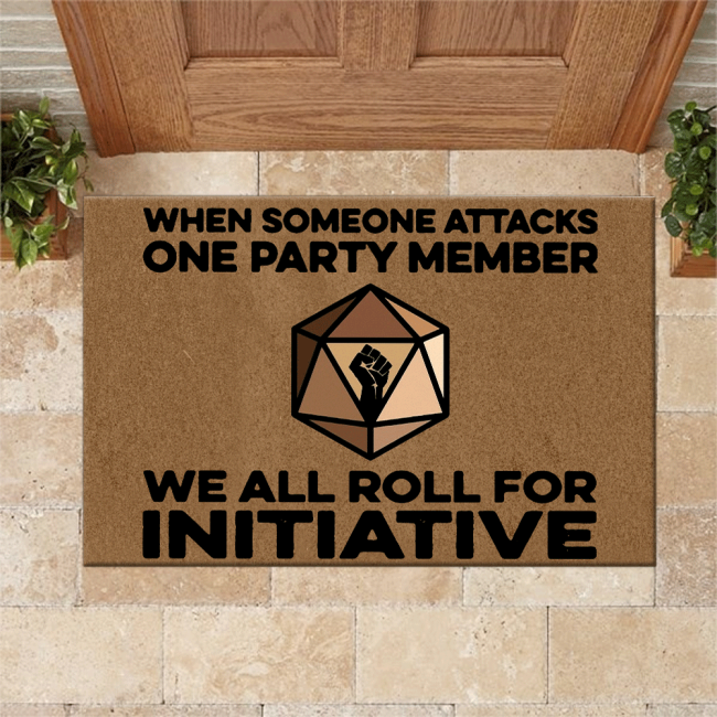 DnD We All Roll For Initiative Doormat