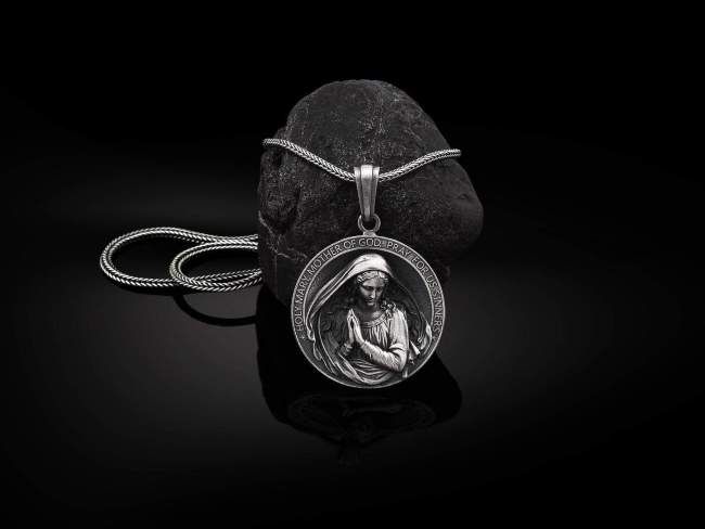 Silver Holy Mother Mary Necklace