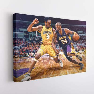 Kobe Bryant no. 8 vs Kobe Bryant No.24 Canvas Wall Art