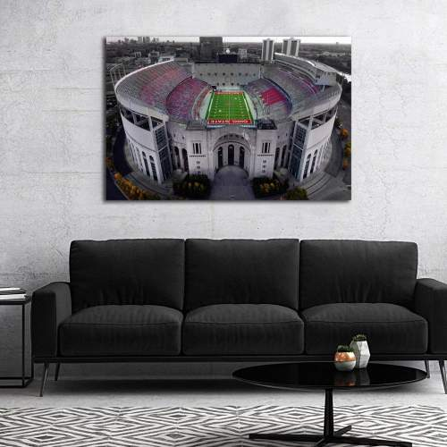 Ohio State Football Stadium Colored Drone Shot Canvas Art
