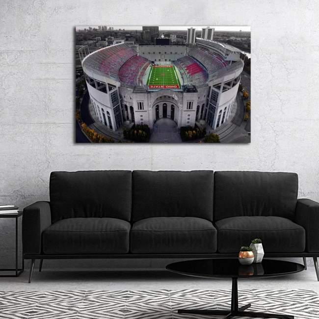 Ohio State Football Stadium Colored Drone Shot Canvas Art
