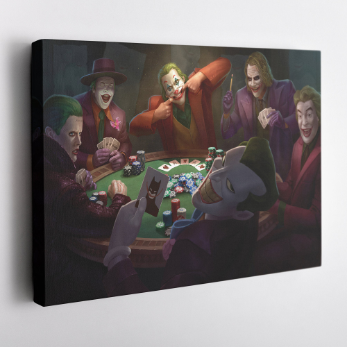 Jokers playing Poker Supervillain Canvas Unique Design Wall Art Print