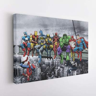 DC MARVEL Super Hero Lunch Atop Skyscraper Canvas Wall Art