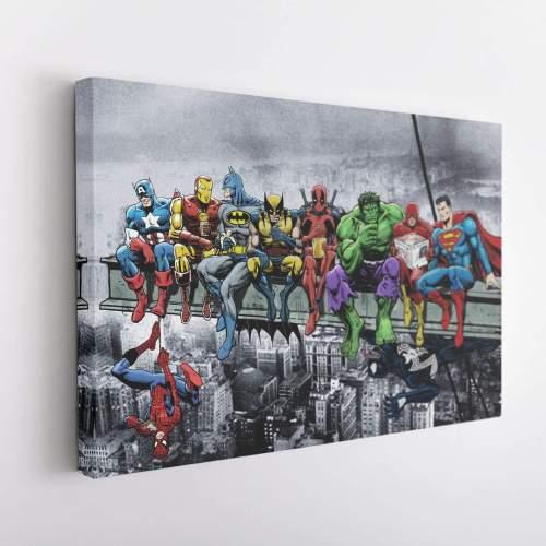 DC MARVEL Super Hero Lunch Atop Skyscraper Canvas Wall Art