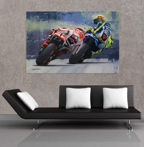 Marc Marquez VS Valentino Rossi MOTO GP Canvas Wall Art