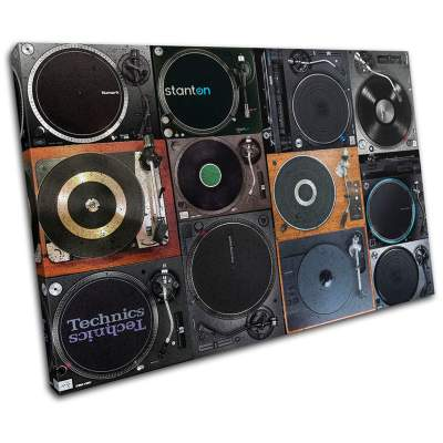 Urban Turntabler DJ Vinyl Deck Musical SINGLE Canvas Picture Wall Art
