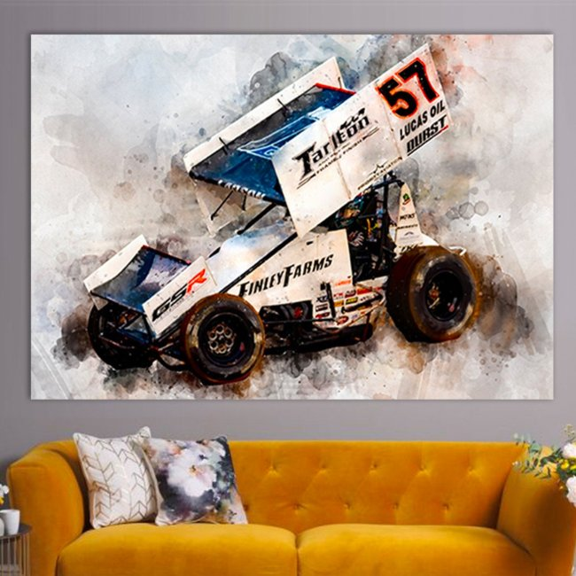 Kyle Larson Sprint Car Canvas Racing Canvas Wall Art