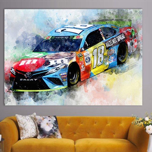Kyle Busch Canvas Print, Racing Room Decor NASCAR Wall Art