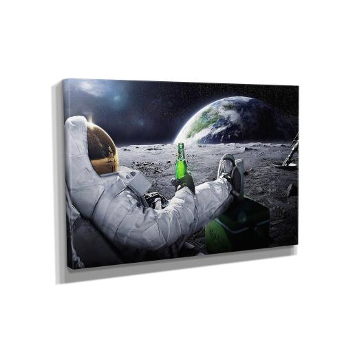Beer Drinking Astronaut Canvas Wall Art