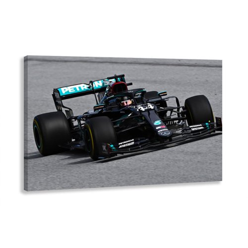 Lewis Hamilton Black Mercedes Formula One Car Number 1 F1 Driver Champion Canvas Wall Art