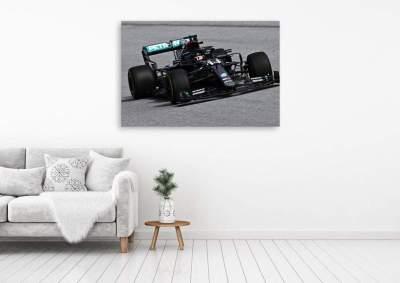 Lewis Hamilton Black Mercedes Formula One Car Number 1 F1 Driver Champion Canvas Wall Art