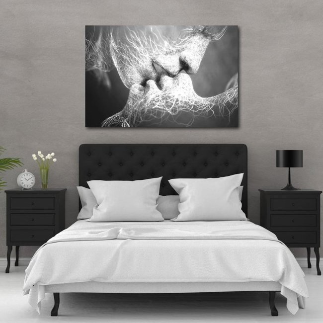 Black & White Love Kiss Abstract Art on Canvas Painting Wall Art