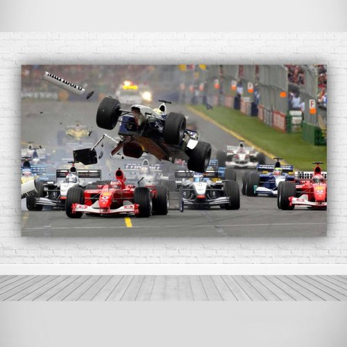 F1 Formula One Crash, Canvas Wall Art