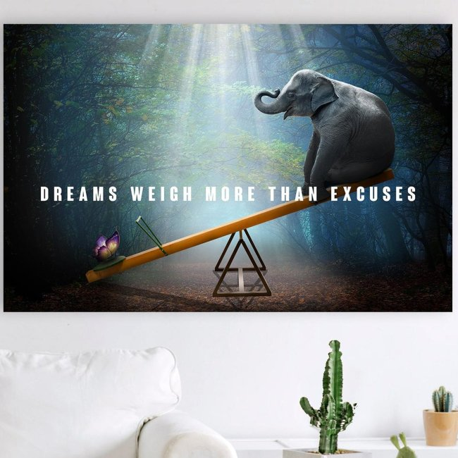 Elephant and Butterfly Dreams Weigh More Than Excuses Canvas Wall Art
