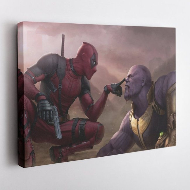 Deadpool With Thanos Poster Canvas Wall Art