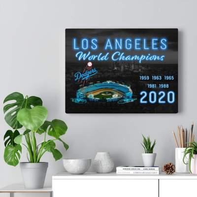 LA Dodgers World Championship Canvas Wall Art, 2020 World Series Champs
