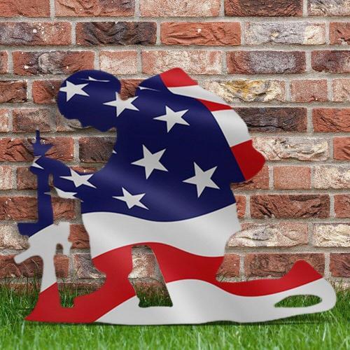 Kneeling Soldier Weathered Flag Metal Art Decor