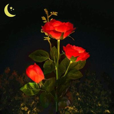 SPRING ARTIFICIAL ROSE SOLAR GARDEN STAKE LIGHTS