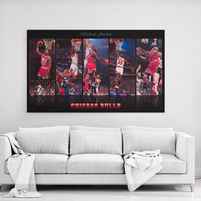 Chicago Bulls - Michael Jordan Skills Canvas Wall Art