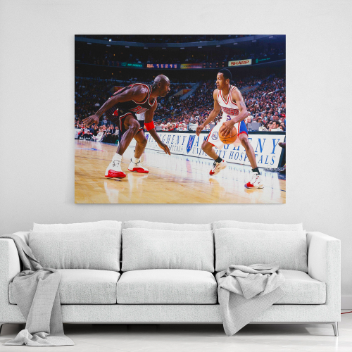 Allen Iverson vs Micheal Jordan - Philadelphia 76ers vs Chicago Bulls Canvas Wall Art