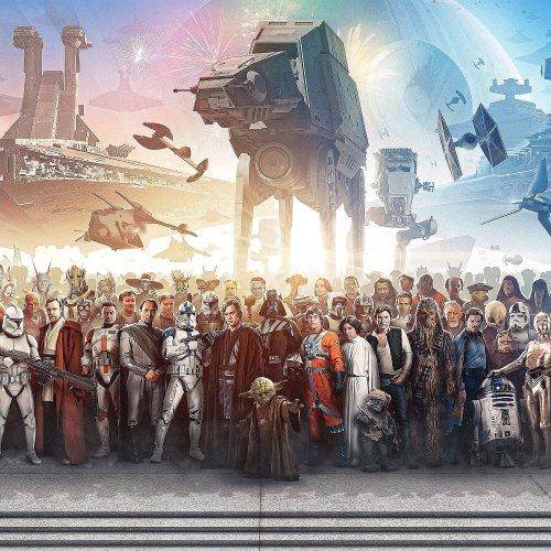 Star Wars Panorama Colorful Print Canvas Art