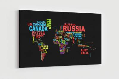 World Map with Words Canvas Wall Art