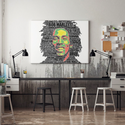 Bob Marley with Words Canvas Wall Art