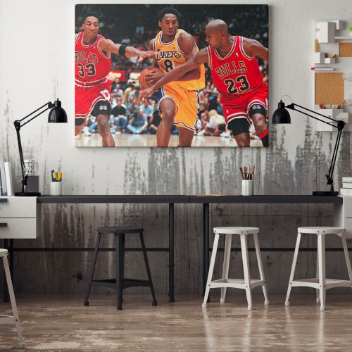 Chicago Bulls vs Los Angeles Lakers Canvas Wall Art