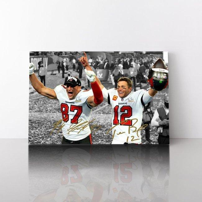 Tom Brady Rob Gronkowski Tampa Bay Buccaneers Celebration Signed Photo Canvas Wall Art