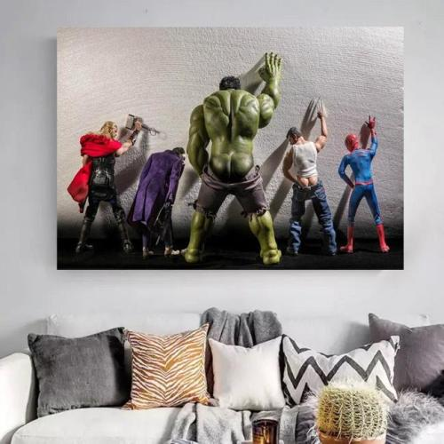 Avengers Hulk Superheroes in Toilet Thor Canvas Wall Art