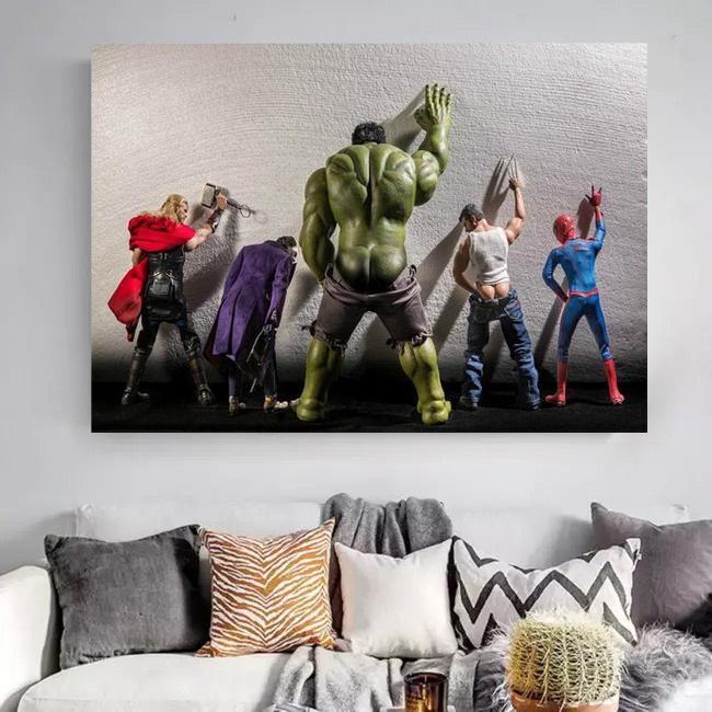 Avengers Hulk Superheroes in Toilet Thor Canvas Wall Art