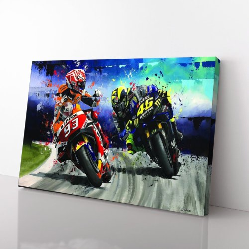Marc Marquez Versus Valentino Rossi Legend Racer Signed For Fan Canvas Wall Art