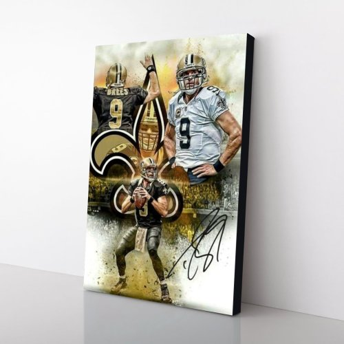 Drew Brees New Orleans Saints Signed Canvas Wall Art