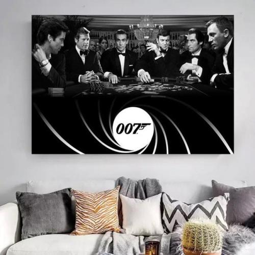 All Bonds playing poker together Canvas Wall Art