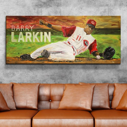 Cincinnati Reds baseball legend Barry Larkin Canvas Art
