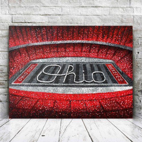 Ohio State Football Stadium Scarlet and Gray Canvas Art